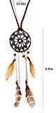 Lureme® Women's Caffè Dangling Piuma Catena Pendant Tribal Cacciatore di sogni Collana (01003545)