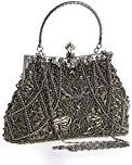 Hoxis CL1451 Borsetta vintage, morbida con perline e paillette, motivo decorativo floreale, struttura in metallo, chiusura a clip, interno in raso