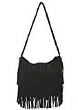 Aimerfeel-womens borsa scamosciata con 2 livelli di nappe in nero, grigio, viola o giallo