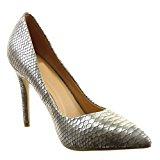 Sopily - Scarpe da Moda scarpe decollete stiletto alla caviglia donna pelle di serpente Tacco Stiletto tacco alto 10.5 CM - Argento