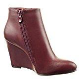 Sopily - Scarpe da Moda Stivaletti - Scarponcini low boots alla caviglia donna zip Tacco zeppa 9 CM - Rosso