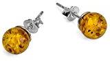 Noda - Orecchini con piccole sfere, argento sterling e ambra, 8 mm, colore: Miele