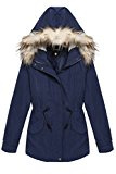 Acevog Donna moda casuale con cappuccio da colletto in pelliccia parka cappotto lungo