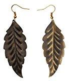 SouvNear Set di 2 Leaf Orecchini - ottone anticato - Accessori di moda delle donne dell'annata