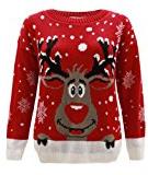 Generazione Fashion da donna a forma di renna Rudolph Natale Maglione Top Plus Size 16202224262830