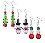 Zhenhui realizzato a mano, con cristallo trasparente-Orecchini a forma di albero di Natale con pupazzo di neve, per donna, colore: Bianco con perline Multicored pendente in vetro, colore: Rosso