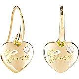 Guess Orecchini pendenti da donna, mod. HEARTS AND ROSES, in ottone e vetro bianco - parzialmente placcati oro UBE21517