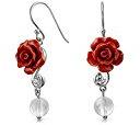 Bling Jewelry 925 Resina Silver Rose CZ quarzo rosa orecchini a pendente