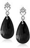 1928 Jewelry - Orecchini pendenti, tonalità argento, con cristalli neri a goccia