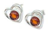 ACE Argento cuore forma di donna, orecchini a perno con vera ambra cognac 12mm, nuovo