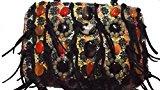 Borsa a mano, clutch, multicolor. In maglia nera con fondo oro, manico e ricamo con pietre dure semipreziose.