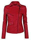 HRYfashion giacca asimmetrica da donna, alla moda, in pelle, con chiusura lampo