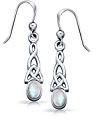 Bling Jewelry Argento nodo celtico Moonstone ovale penzolare orecchini