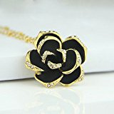 Le Premium® - elegante Black Rose fiore Collana pendente di cristallo placcato oro
