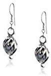Bling Jewelry Penzolare Black Pearl Sterling Silver Cage Earrings
