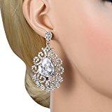 EVER FAITH® silver-tone CZ di cristallo austriaco Art Deco nodo Tear Drop Chandelier ciondola gli orecchini trasparente