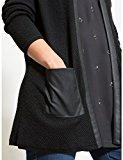Fiorella Rubino: cardigan donna lungo con parti in similpelle. Plus size