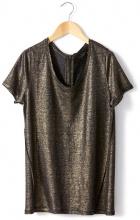T-shirt POURS, maniche corte, effetto metalliscente, puro lino