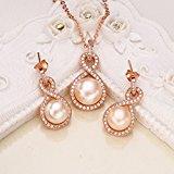 elequeen, Argento Sterling 925e zirconia cubica AAA pulsante Crema d' acqua dolce perla coltivata infinity Set collana orecchini gioielli da sposa