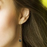 Cécile Cohen - Orecchini pendenti lunghi - perle di ematite (pietra grigi metallo) - Chiusura a monachella