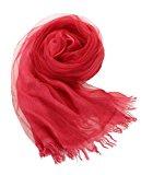 Prettystern - seta & cotone a doppia pale 190cm/65cm casual lavato stola foulard sciarpa di seta feste & tempo libero
