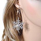 Ever Faith Cristallo austriaco del fiocco di neve orecchini penetranti Cancella silver-tone A10203-2