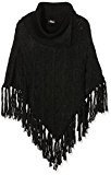 Jane Norman Cable Knit Fringe, Poncho Donna