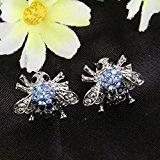 Ever Faith Le api di cristallo austriaco orecchini di blu e nero silver-tone A02655-21