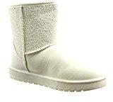 Sopily - Scarpe da Moda Stivaletti - Scarponcini alla caviglia donna strass Tacco a blocco 2.5 CM - soletta sintetico - foderato di pelliccia - Bianco