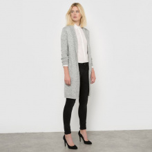 Gilet lungo, maglia screziata 52% lana