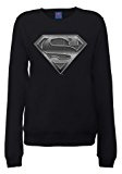 DC Comics Official Superman Steel Plate Logo Womens Sweatshirt, Felpa Donna