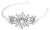Bling Jewelry Perla di vetro Fiore strass Fascia nuziale