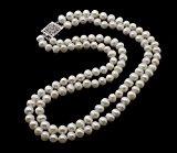 TreasureBay Collana eccezionale Ellena a doppio filo, perle: 7-8 mm naturale coltivata d'acqua dolce con chiusura a fermaglio in argento, spediti in una lussuosa scatola-regalo