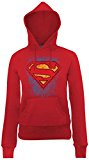DC Comics Official Superman Crayon Logo Womens Hooded Sweatshirt, Felpa Donna, Rosso (Cherry Red), 2XL