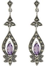 Esse Marcasite Donna  925  argento Marquise   viola Ametista Marcasite FINEEARRING