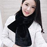AVIEII caldo in erba pelle inverno Lana Sided di Fox della pelliccia del coniglio delle sciarpe della sciarpa per Uomo Donna (nero)