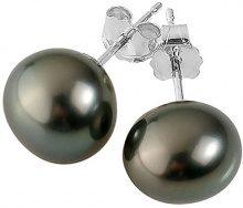 Pearls & Colors Donna  9 carati  Oro bianco  semirotonda Perla di Tahiti coltivata blu Perla FINEEARRING