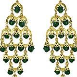 bigiotteria artigianale Orecchini perla verde penzolare moda indiana