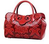 Elegante goffratura da donna in pelle PU classico Top-handle Borsa Messenger Bag Stile Cinese