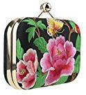 LY Pochette, borsetta portamonete, motivo fiori ricamato, con tracolla, Butterfly with Flower (nero) - JEWEJBADSE-09