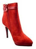 Sopily - Scarpe da Moda Stivaletti - Scarponcini zeppe alla caviglia donna fibbia gioielli Tacco a blocco tacco alto 10.5 CM - soletta sintetico - foderato di pelliccia - Rosso