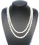 A 7-8 mm 47Inches 120 cm, colore: Bianco perla d'acqua dolce coltivata e Collana da donna & Paio di orecchini A perno, spediti in una lussuosa scatola-regalo