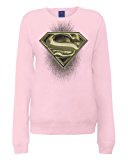 DC Comic - Dc Comics Official Superman Engraving Logo Womens Sweatshirt, Felpa da donna