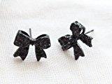 Yazilind - Orecchini coreani a perno, a forma di fiocco, in resina, colore: nero, donna