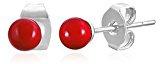Katy Craig-Paio di piccoli orecchini 4 mm, colore: Rosso in acciaio INOX