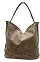JustGlam - Borsa Donna MC190 shopping sacco ecopelle spazzolata c/mini borchie in abs singolo manico chiusura lampo