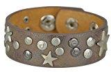Bags4Less KZ-090-Bracciale Vintage in pelle con borchie a forma di stella