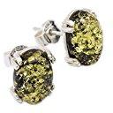 ASS argento donna Orecchini con vera ambra verde oval form ca 12 mm., nuovo