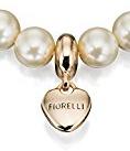 Fiorelli Costume Collection - Bracciale da donna elasticizzato con perle, con ciondolo a forma di perla, lunghezza 17,5 cm