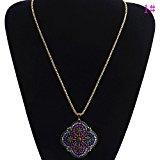Lureme® monili casuali catena tono oro fiore viola ciondolo di colore con la collana di cristallo per le ragazze e le donne (01001951-1)